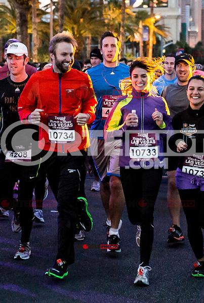 LAS VEGAS, NV - December 2 : Paul McDonald and Nikki Reed pictured t starting line at Rock and Roll Marathon & 1/2 on The Las Vegas Strip at Night on December 2, 2012 in Las Vegas, Nevada. © Kabik/ Starlitepics /MediaPunch Inc. ©/NortePhoto /NortePhoto©