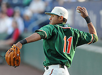 April 20, 2009: Infielder Emilio Ontiveros (11) of the Greensboro Grasshoppers, Class A affiliate of the Florida Marlins, in a game against the Greenville Drive at Fluor Field at the West End in Greenville, S.C. Photo by: Tom Priddy/Four Seam Images