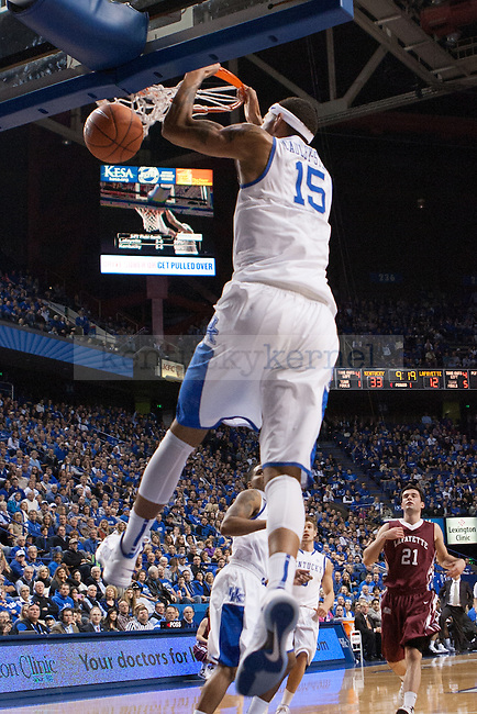 Freshman forward, Willie Cauley-Stein, dunking the ball during the first half of the UK vs. Lafaytte basketball game at Rupp Arena  on Friday, Nov. 16, 2012. Photo by Adam Chaffins | Staff