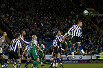 Two-goal striker Marcus Tudguy heading the ball clear as Sheffield Wednesday take on Peterborough United in a Coca-Cola Championship match at Hillsborough Stadium, Sheffield. The home side won by 2 goals to 1 giving Alan Irvine his third straight win since taking over as Wednesday's manager.