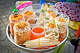 VIETNAM, Ho Chi Minh, Saigon, Jars of Vietnamese Food by a Street Vendor