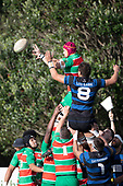 Michael McKee and Leroy Jack compete for the ball at a lineout. Counties Manukau Premier Club Rugby game between Onewhero and Waiuku, played at Onewhero on Saturday May 26th 2018. Onewhero won the game 24 - 20 after leading 17 - 12 at halftime. <br /> Onewhero Silver Fern Marquees 24 -Vaughan Holdt, Filipe Pau, Sean Bagshaw tries, Rhain Strang 3 conversions, Rhain Strang penalty.<br /> Waiuku Brian James Contracting 20 - Christian Walker, Fuifatu Asomua, Aaron Yuill tries, Christian Walker conversion, Christian Walker penalty .<br /> Photo by Richard Spranger.