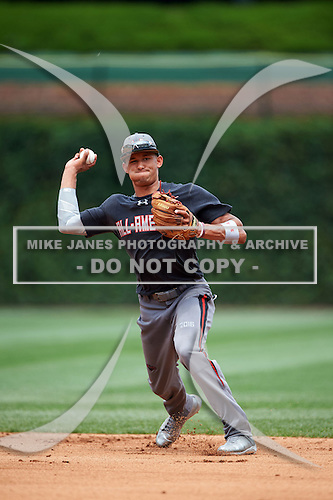 Royce Lewis (6) of J Serra High School in Aliso Viejo, California during the Under Armour All-American Game presented by Baseball Factory on July 23, 2016 at Wrigley Field in Chicago, Illinois.  (Mike Janes/Four Seam Images)