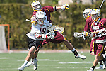 Orange, CA 05/02/10 - Brian Bell (Chapman # 19) and Tyler Westfall (ASU # 7)in action during the Chapman-Arizona State MCLA SLC Division I final at Wilson Field on Chapman University's campus.  Arizona State defeated Chapman 13-12 in overtime.