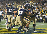 Annapolis, MD - October 7, 2017: Navy Midshipmen celebrates after a touchdown during the game between Air Force and Navy at  Navy-Marine Corps Memorial Stadium in Annapolis, MD.   (Photo by Elliott Brown/Media Images International)