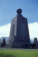La Mitad del Mundo or Middle of the World monument in San Antonio Pichincha near Quito, Ecuador. This iron and cement monument was built between 1979 and 1982 to mark the position of the equator. It now houses  an ethnographic museum.