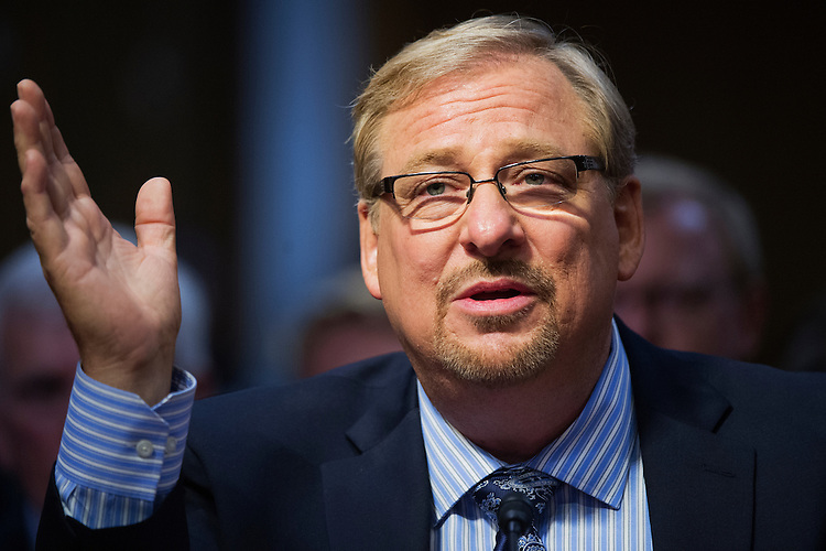 UNITED STATES - MAY 6: Rick Warren, pastor of the Saddleback Church, testifies before a Senate Appropriations State, Foreign Operations and Related Programs Subcommittee hearing in Dirksen Building on global health problems, May 6, 2015. (Photo By Tom Williams/CQ Roll Call)
