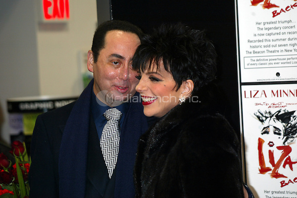 Liza Minnelli and husband David Gest<br /> Personal Appearance and CD Signing to promote the New Live CD &quot;Liza's Back&quot;<br /> Tower Records, NYC<br /> &copy; Joseph Marzullo / MediaPunch<br /> October 29, 2002