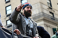 February 4, 2015 - Boston, Massachusetts, U.S. -  New England Patriots defensive end Rob Ninkovich (50) waves to fans during a parade held in Boston to celebrate the team's victory over the Seattle Seahawks in Super Bowl XLIX. Eric Canha/CSM