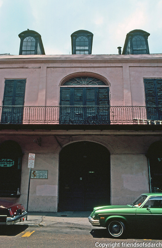 New Orleans:   Montegut House, 731 Royal St., 1795.  A popular place for wedding receptions.  Spanish Colonial.
