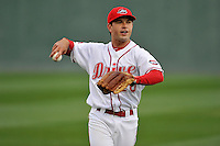 Second baseman Chad De La Guerra (20) of the Greenville Drive warms up before a game against the Asheville Tourists on Thursday, April 7, 2016, at Fluor Field at the West End in Greenville, South Carolina. Greenville won, 4-3. (Tom Priddy/Four Seam Images)