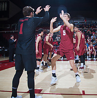 STANFORD, CA - March 2, 2019: Stephen Moye, Kyle Dagostino at Maples Pavilion. The Stanford Cardinal defeated BYU 25-20, 25-20, 22-25, 25-21.