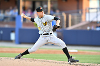 West Virginia Power starting pitcher James Marvel (12) delivers a pitch during a game against the Asheville Tourists at McCormick Field on May 10, 2017 in Asheville, North Carolina. The Tourists defeated the Power 4-3. (Tony Farlow/Four Seam Images)