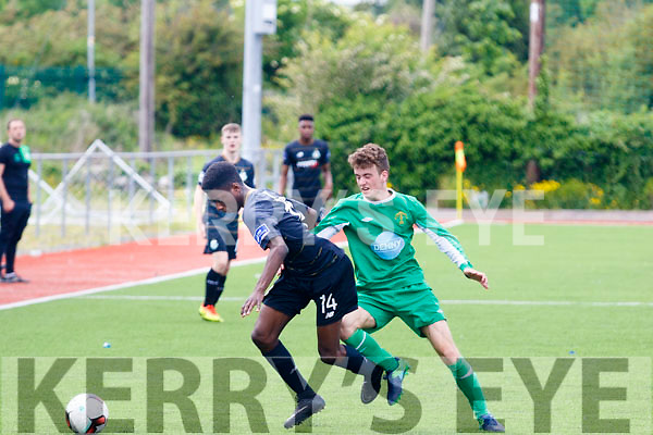 Shamrock Rovers Martins Olakanye and Adria Miravet, Kerry tussle for possession when the U17 sides met at Mounthawk park, Tralee last Sunday.