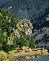 BNSF train in Columbia River Gorge Washington