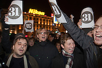 Moscow, Russia, 31/10/2010..Demonstrators confront a police and army security cordon at the first Strategy 31 anti-government demonstration to be permitted after all previous such demonstrations were broken up by police. Opposition activists hold regular demonstrations on the 31st day of the month, protesting against restrictions on the freedom of assembly, which is protected by article number 31 of the Russian constitution.