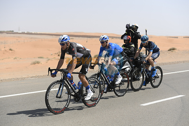 The breakaway featuring Black Jersey Stepan Kuriyanov and Igor Boev (RUS) of Gazpom-Rusvelo and Charles Planet (FRA) of Team Novo Nordisk during Stage 3 of the 2019 UAE Tour, running 179km form Al Ain to Jebel Hafeet, Abu Dhabi, United Arab Emirates. 26th February 2019.<br /> Picture: LaPresse/Fabio Ferrari | Cyclefile<br /> <br /> <br /> All photos usage must carry mandatory copyright credit (© Cyclefile | LaPresse/Fabio Ferrari)
