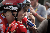 Tony Gallopin (FRA/Lotto-Soudal) 'mobbed' by french press after finishing the stage 1 prologue in Utrecht (13.8km)<br /> <br /> Tour de France 2015