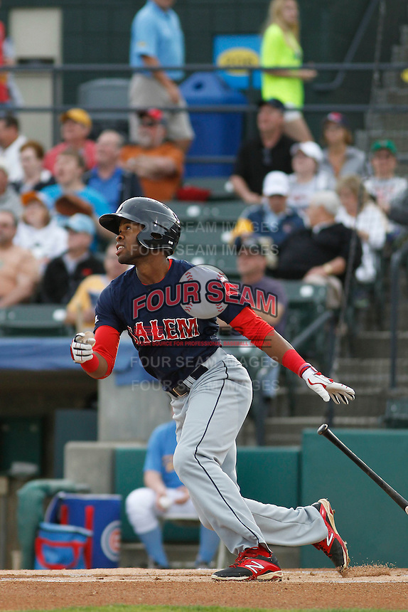 Salem Red Sox outfielder Manuel Margot (2) at bat during a game against the Myrtle Beach Pelicans at Ticketreturn.com Field at Pelicans Ballpark on May 5, 2015 in Myrtle Beach, South Carolina.  Myrtle Beach defeated Salem  5-2. (Robert Gurganus/Four Seam Images)
