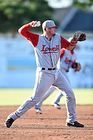 Lowell Spinners third baseman Jordan Betts (22) throws to first during a game against the Batavia Muckdogs on July 16, 2014 at Dwyer Stadium in Batavia, New York.  Lowell defeated Batavia 6-4.  (Mike Janes/Four Seam Images)