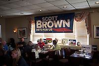 People gather for a constituent lunch at Bella Costa Restaurant with Senator Scott Brown (R-MA) in Framingham, Massachusetts, USA, on Thurs., Nov. 2, 2012. Senator Scott Brown is seeking re-election to the Senate.  His opponent is Elizabeth Warren, a democrat.