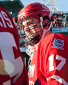 Dante Fabbro (BU - 17) - The Boston University Terriers defeated the University of Massachusetts Minutemen 5-3 on Sunday, January 8, 2017, at Fenway Park in Boston, Massachusetts.The Boston University Terriers defeated the University of Massachusetts Minutemen 5-3 on Sunday, January 8, 2017, at Fenway Park.