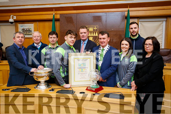Pictured are the Kerry Minor Team and management, who were were awarded at Kerry County Council Buildings, Rathass, Tralee, on Friday evening last, l-r: Peter Keane (Manager), Christy Killeen, Chris Flannery David Clifford (Captain), Tim Murphy (County Chairman), Lord Mayor John Sheahan, Deirdre Kelly (Team Nutritionist), Padraig Murphy (Trainer) and Moira Murrell (Kerry County Council).