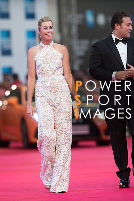 Paula Creamer and her husband Derek walk the Red Carpet event at the World Celebrity Pro-Am 2016 Mission Hills China Golf Tournament on 20 October 2016, in Haikou, China. Photo by Victor Fraile / Power Sport Images