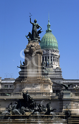 """Buenos Aires, Argentina. Detail from the Congress building and fountain with graffiti: """"The Rolling Stones""""."""