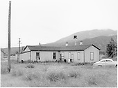 View from rear, east corner of the closed D&amp;RGW Poncha Junction depot and living quarters.<br /> D&amp;RGW  Poncha Junction, CO  Taken by Graves, William A. - 1958