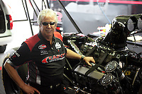 May 10, 2013; Commerce, GA, USA: NHRA crew chief Lee Beard for top fuel dragster driver Steve Torrence during qualifying for the Southern Nationals at Atlanta Dragway. Mandatory Credit: Mark J. Rebilas-