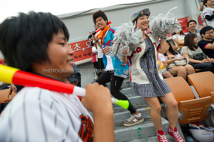 9/1/2013--Busan, South Korea<br /> <br /> Fans and supporters of the Lotte Giants baseball team at Sajik stadium in Busan (Pusan), South Korea.<br /> <br /> Photograph by Stuart Isett