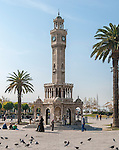 Saat Kulesi, the clock tower in Konak square, Izmir, Turkey