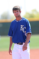 Bubba Starling #15 of the Kansas City Royals during a Minor League Spring Training Game against the San Diego Padres at the Kansas City Royals Spring Training Complex on March 26, 2014 in Surprise, Arizona. (Larry Goren/Four Seam Images)