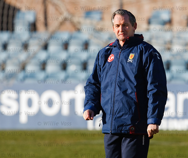 Scotland manager George Burley at a cold morning training session at Dens Park, Dundee