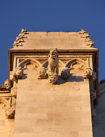 Gargoyle; Portal of the Cathedral; XII Century, Tarragona, Catalonia, Spain; finest example of transitional architecture, contrasting both Romanesque and Gothic aesthetics; Perched on the hilltop of the historical centre, it overlaps the site of a former Roman temple. Picture by Manuel Cohen