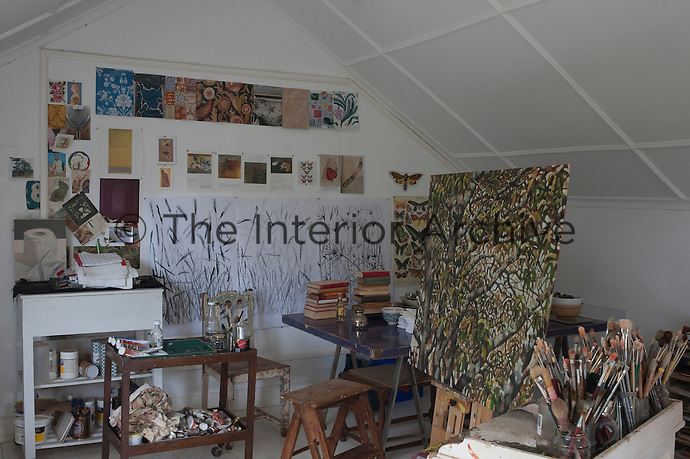 Maia's studio is filled with her work in progress