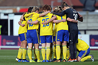 Birmingham huddle during Arsenal Women vs Birmingham City Ladies, FA Women's Super League Football at Meadow Park on 4th November 2018