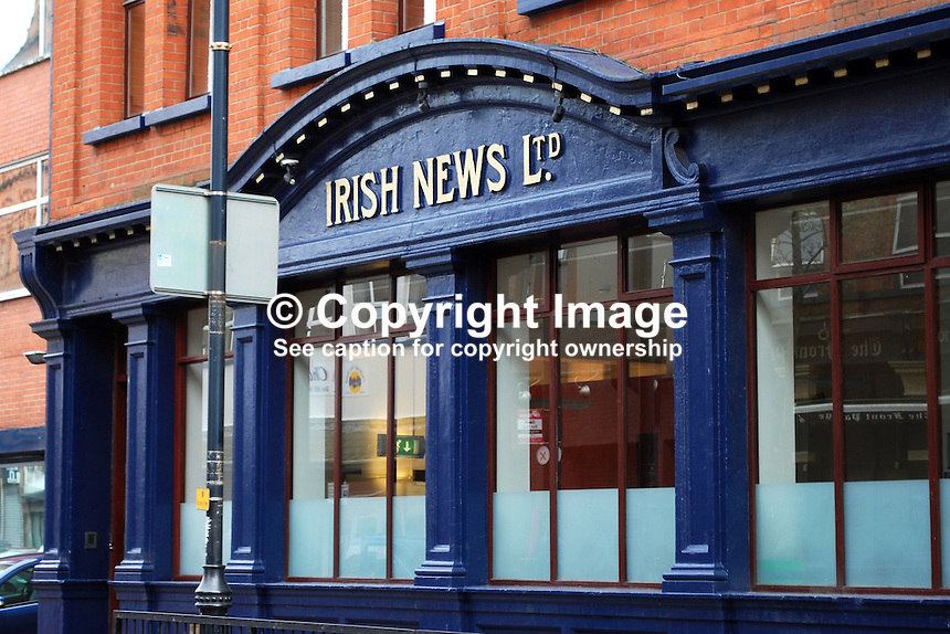 Facade, Irish News Building, Donegall Street, Belfast, N Ireland, UK, 200903172045.Copyright Image from Victor Patterson, 54 Dorchester Park, Belfast, UK, BT9 6RJ..Tel: +44 28 9066 1296.Mob: +44 7802 353836.Voicemail +44 20 8816 7153.Skype: victorpattersonbelfast.Email: victorpatterson@mac.com.Email: victorpatterson@ireland.com (back-up)..IMPORTANT: If you wish to use this image or any other of my images please go to www.victorpatterson.com and click on the Terms & Conditions. Then contact me by email or phone with the reference number(s) of the image(s) concerned.