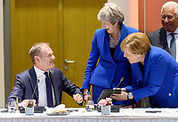 10 April 2019 - President of the European Council Donald Tusk, British Prime Minister Theresa May and German Chancellor Angela Merkel talk at a round table meeting in Brussels, Belgium.Theresa May formally presents her case to the European Union for a short delay to Brexit until 30 June 2019. The other EU leaders will then then discuss how to respond at a dinner without her. Photo Credit: ALPR/AdMedia
