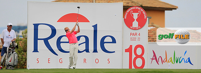 Simon Dyson (ENG) in action during Wednesday's Pro-Am of the Open de Espana at Real Club de Golf de Sevilla, Seville, Spain, 2nd May 2012 (Photo Eoin Clarke/www.golffile.ie)