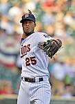 29 September 2012: Minnesota Twins infielder Pedro Florimon warms up prior to a game against the Detroit Tigers at Target Field in Minneapolis, MN. The Tigers defeated the Twins 6-4 in the second game of their 3-game series. Mandatory Credit: Ed Wolfstein Photo