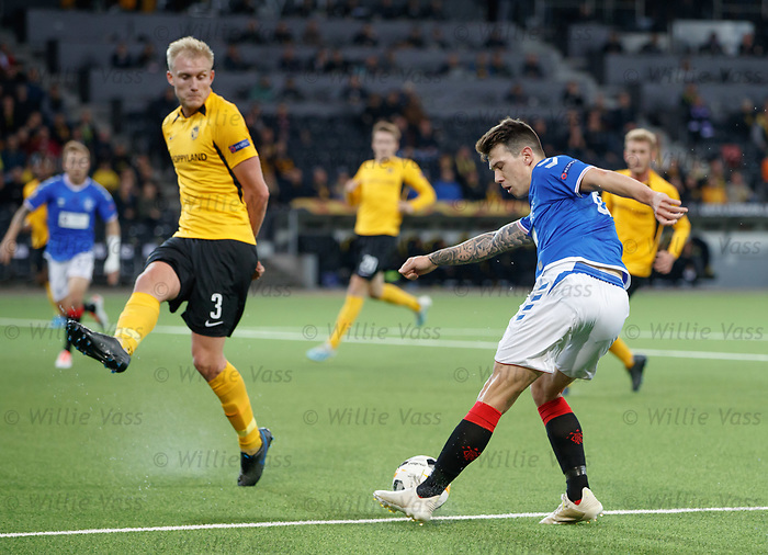 03.10.2019 Young Boys of Bern v Rangers: Ryan Jack tries a shot
