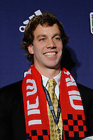 The first pick of the New England Revolution and the ninth overall pick Zack Schilawski (Wake Forest University) during the MLS SuperDraft at the Pennsylvania Convention Center in Philadelphia, PA, on January 14, 2010.