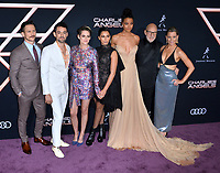 "LOS ANGELES, USA. November 12, 2019: Jonathan Tucker, Luis Gerardo Mendez, Kristen Stewart, Naomi Scott, Ella Balinska, Patrick Stewart & Elizabeth Banks at the world premiere of ""Charlie's Angels"" at the Regency Village Theatre.<br /> Picture: Paul Smith/Featureflash"