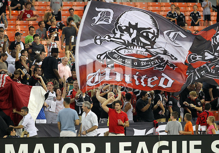 WASHINGTON, DC. - AUGUST 22, 2012:  Fans of DC United after a goal against the Chicago Fire during an MLS match at RFK Stadium, in Washington DC,  on August 22. United won 4-2.