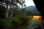 Lodge at twilight in the Peruvian Amazon rainforest, Peru, South America