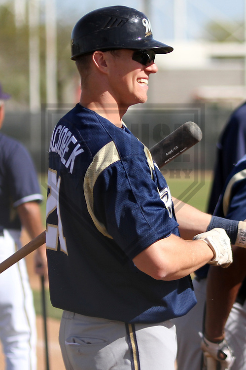MARYVALE - March 2014: Joey Paciorek of the Milwaukee Brewers during a spring training workout on March 18th, 2014 at Maryvale Baseball Park in Maryvale, Arizona.  (Photo Credit: Brad Krause)