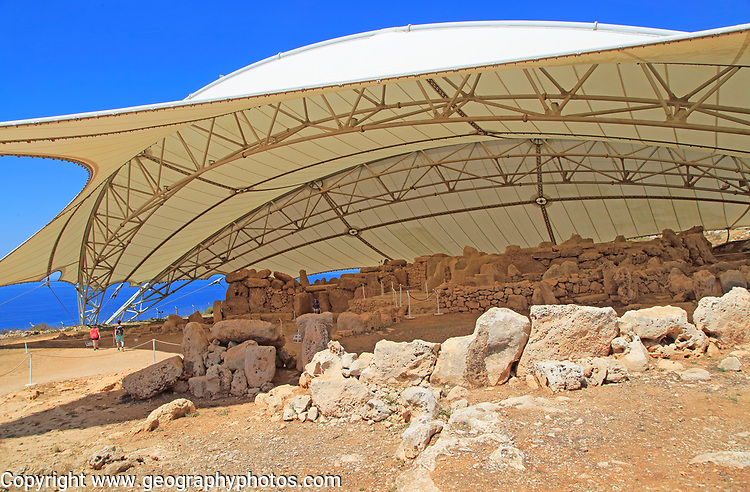 Mnajdra neolithic megalithic prehistoric temple complex site, Malta