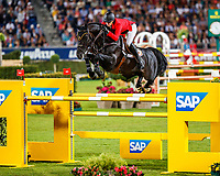 BEL-Gregory Wathelet rides Iron Man Van De Padenborre during the Mercedes-Benz CSIO5* Nationenpreis. 2019 GER-CHIO Aachen Weltfest des Pferdesports. Thursday 18 July. Copyright Photo: Libby Law Photography